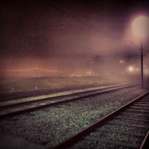Fog and train tracks, 2013